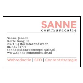 Visitekaartje Sanne Communicatie