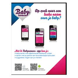 Advertentie Babynamen+ app